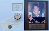 Mario Lemieux Autographed Puck NHL Penguins COA 8X10 Signed 1991 STANLEY CUP
