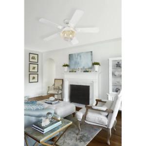 "Outdoor 52"" Ceiling Fan Nautical Cage Lamp Fixture Elegant Coastal Patio Light"