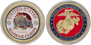 Challenge Coin - United States Marine Corps USMC Military New GOLD *