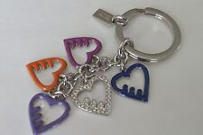 NWOT COACH MULTI HEART MIX KEY RING CHAIN FOB