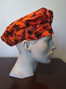 Women's Scrub Bouffant Hat Washable Reusable Handmade Orange Bats Halloween