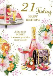 Ladies 21 Today Happy Birthday Card. Glittery Bubbly Card For Female Age 21