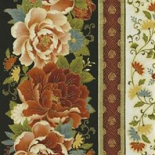 Zen Floral Border Metallic accents cotton quilt fabric BTY Timeless Treasures