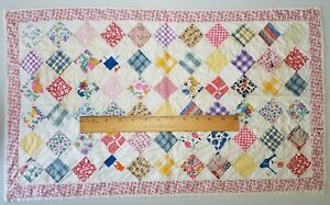 """Vintage Doll Quilt Homemade Patchwork 15"""" x 25"""""""