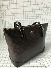 NWT Coach F29208 Zip Top Tote In Signature Canvas Brown/Black