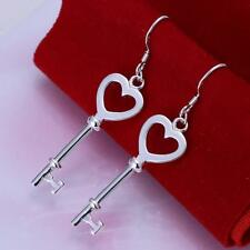 Women Girls Romantic Key Heart Shape Silver Plated Long Dangle Hook Earrings DE