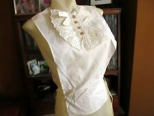 Antique Lace Dicky Dickie White Linen Steam Punk Victorian Buttons