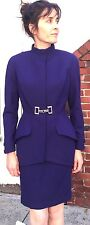 THIERRY MUGLER wool Metal closure Skirt Suit Sz 38 Blazer blue 4 Couture Paris 4