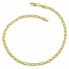 14K Yellow Gold Filled Solid Mariner Chain Bracelet, 3.2mm, 8.5""