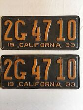 1933 Vintage California License Plates Set