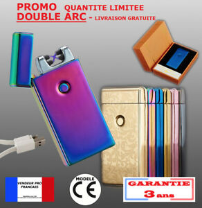 Briquet DOUBLE arc électrique USB tempête plasma pulse 10 modèles LUXE inferno c