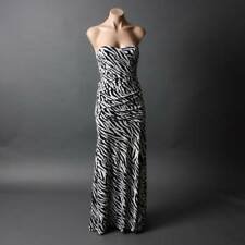 Black Zebra Cocktail Evening Party Gown Formal Strapless Dance Long Maxi Dress S