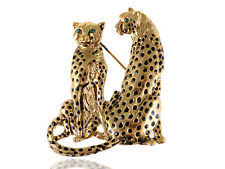 Gold Crystal Rhinestone Golden Tone Twin Family Leopard Custom Pin Brooch Gifts