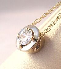 14K GOLD Solitaire .30CT Diamond H SI1 hand made Pendant & 18'' Link chain