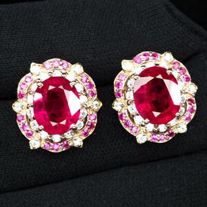 RUBY BLOOD RED OVAL 9.10 CT. SAPP 925 STERLING SILVER ROSE GOLD EARRINGS JEWELRY