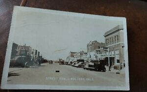 1944 Real Photo Postcard Street View, Walters, Oklahoma / Cars, Signage etc.
