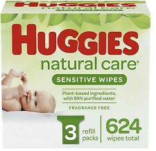 Baby Wipes Huggies Natural Care Sensitive , Unscented, 3 Refill Packs 624 Wipes