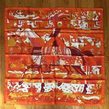 NEW with Box: Hermes Scarf - LES DIX CAVALIER - 100% Silk, Orange Multicolor
