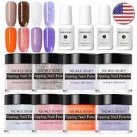 12Pcs/Set NICOLE DIARY Dipping Powder Pink Nail Art Dip Liquid Pro Starter Kit