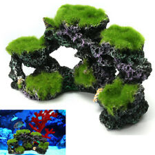 Aquarium Coral Reef Moss Rock Fish Tank Through Pass Island Ornament Cave ! *