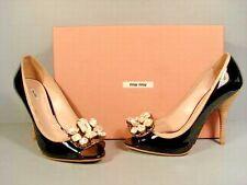 Miu Miu Prada 37.5 Black Patent Peep Toe Crystal Classic Elegant Pumps Heels NEW