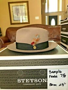 """STETSON """"SAMPLE"""" MODEL FAWN 7 1/8 HANDSOME FEDORA"""