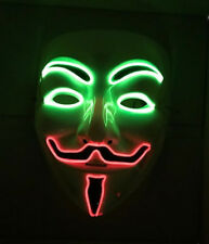 Dos Tonos Vendetta Máscara de luz LED Disfraz de Halloween vestido elegante anónimo