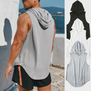 Men's Gym Pullover Vest Sleeveless Casual Hoodie Hooded Tank Tops Muscle T-Shirt