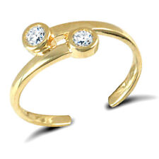 Ring Double Solitaire Fully Hallmarked 9ct Solid Gold Stone Set Toe