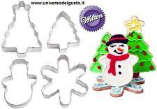 SET 4 TAGLIAPASTA IN METALLO CHRISTMAS NATALE 3D WILTON TAGLIABISCOTTI DECORA