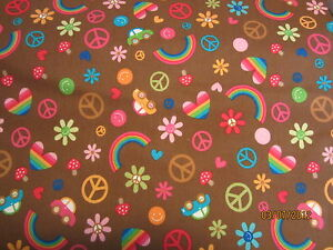 Rainbows clouds hearts peace flowers Flannel  baby toddler sheet set brown