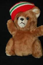"Christmas Bear Vintage Prestige Plush Stuffed Toy Corp Sweater Hat Korea  11"""