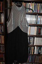 Tadashi Black White Halter Neck Black White Striped Bodice Knit Dress PM M(b127)
