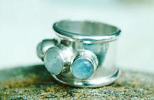 Breit Schlicht Silberring 55 rund Mondstein Handarbeit Weiß Massiv Ring Silber