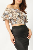 NEW WOMENS LADIES SNAKE PRINT FRILL OFF SHOULDER BARDOT PARTY CROP TOP SIZE 8-14