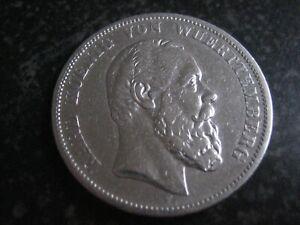 5 Mark 1876 F Silber Deutsches Reich Kaiserreich Wuerttemberg Karl