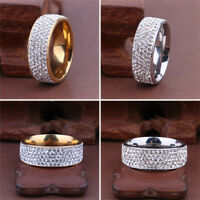 Gold Silver Men/Women's Wedding Band Rings Sz8-10 Unisex CZ Stainless Steel Ring