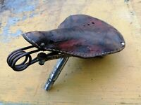 Antique Bicycle Spring Saddle Bike Seat Shell Leather Vintage Old Rusty