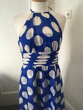 Monsoon Silk Polka Dot Blue Dress Size 10