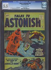 TALES TO ASTONISH #30 CGC FN- 5.5; OW-W; Gorilla-Man by Kirby!
