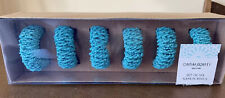Cynthia Rowley Set of 6 Turquoise Beaded Napkin Rings NEW