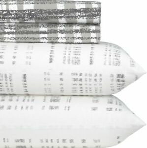 Crate & and Barrel/CB2- ORGANIC PLAID Percale KING SHEET SET- NEW- NWOT- READ