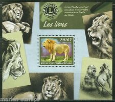 CENTRAL AFRICA 2014 LIONS W/ ROTARY INTERNATIONAL SYMBOL  SOUVENIR SHEET MINT NH