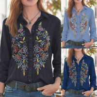 Women Vintage Embroidery Shirt Tops Denim Blue Long Sleeve Button Tops Blouse US