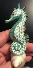 HEREND Green Fishnet Seahorse figurine