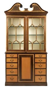 The Federalist Company Maple Mahogany Cabinet, Bookcase, Breakfront Bench Made