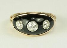 Estate Antique Ring - 3 Stone Old European Cut Diamonds with Black Onyx