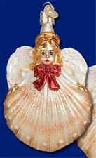 """BLONDE"" SHELL ANGEL OLD WORLD CHRISTMAS GLASS NAUTICAL BEACH ORNAMENT NWT 10211"