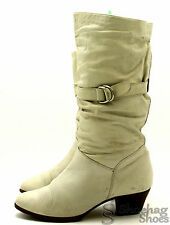 Salamander Womens Boots Size 6.5 M VTG Mid Calf Beige Leather West Germany 70'S