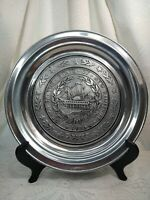 """Wilton Seal Of The State Of New Hampahipre 1776. 11"""" Pewter Metal Plate USA VTG."""